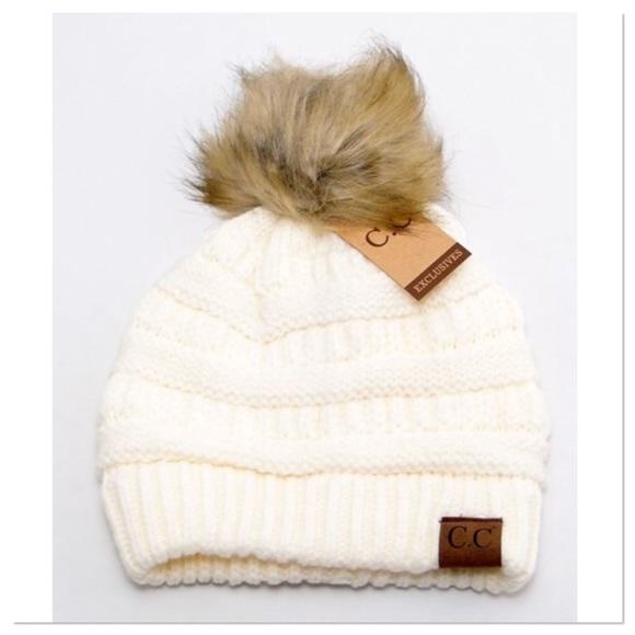 4cae01ff627 Ivory Knit Beanie With Fur Pom Pom